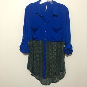 Free People Button Up Front Tunic Top Size Large